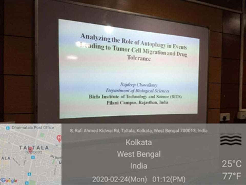 Invited Lecture by Dr. Rajdeep Chowdhury, Associate Professor, BITS-Pilani, Rajasthan,  on ''Analyzing the Role of Autophagy in the Events Leading to Tumor cell Migration & drug Tolerance'